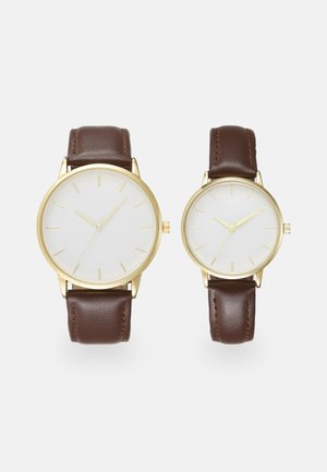 COUPLE WATCHES GIFT SET - Klocka - dark brown