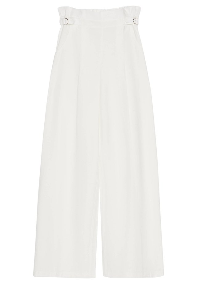 MIT SCHNALLE - Pantalon classique - white
