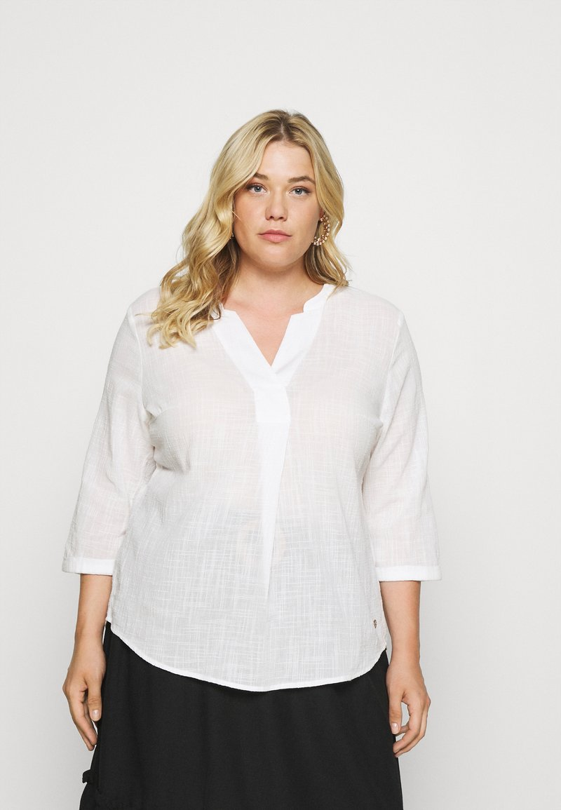 MY TRUE ME TOM TAILOR - BLOUSE TUNIC WITH PLEATS - Blouse - whisper white