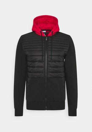 MIXED MEDIA ZIP HOODY - Light jacket - black
