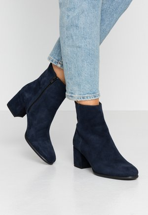 LEATHER BOOTIES - Bottines - dark blue