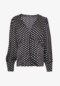Glamorous Curve - SPOT BUTTON DETAIL - Bluser - black/white - 4