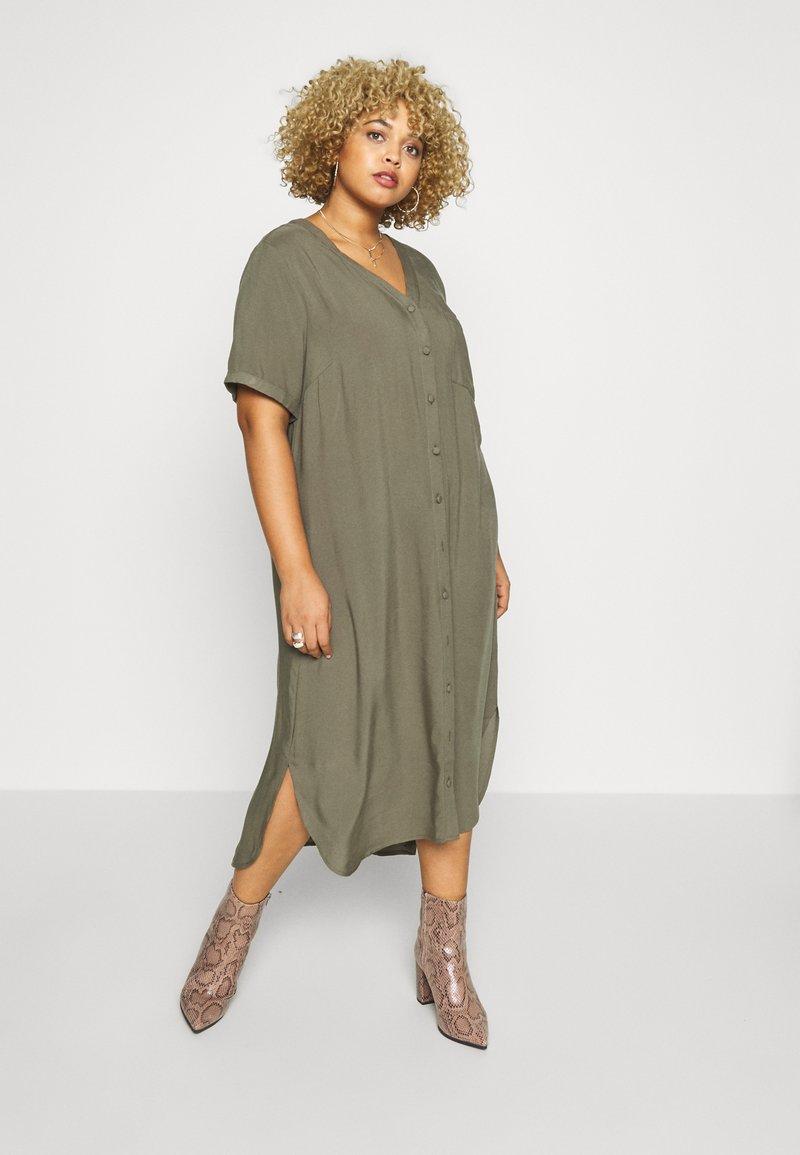 ONLY Carmakoma - CARDENIZIA CALF DRESS SOLI - Day dress - kalamata