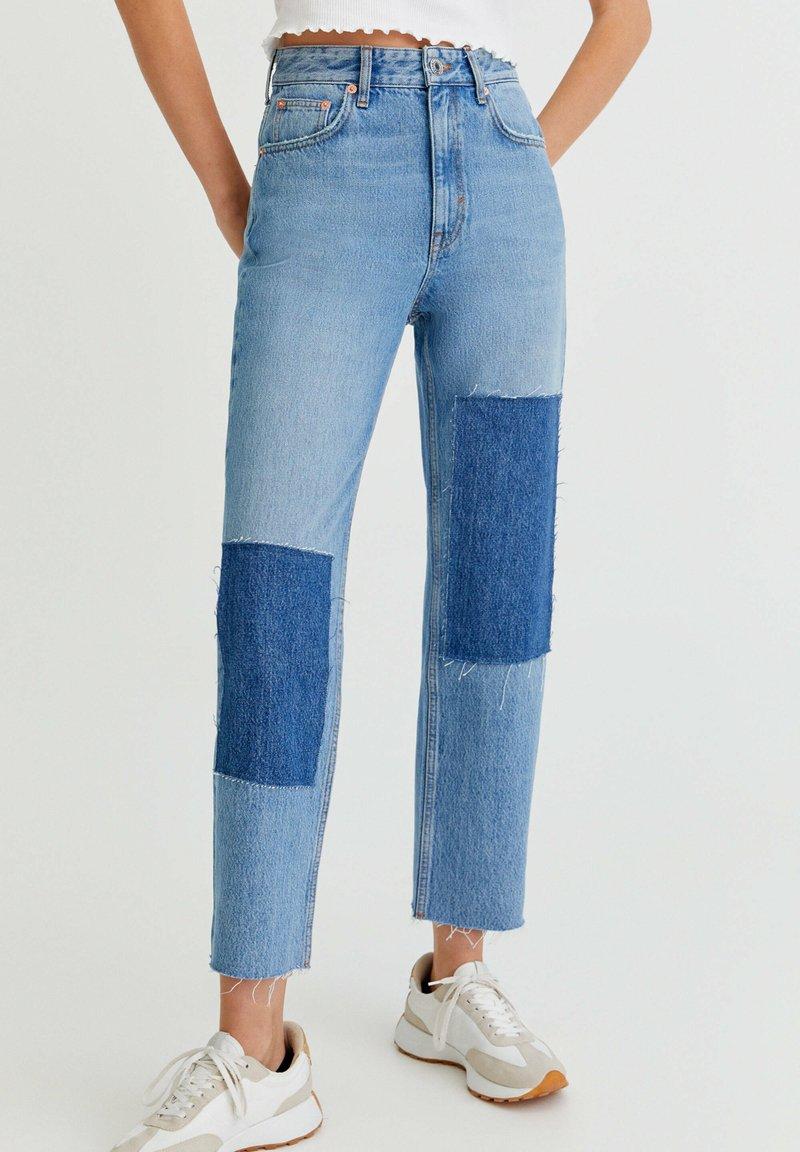 PULL&BEAR - MIT PATCHWORK - Jeans straight leg - blue