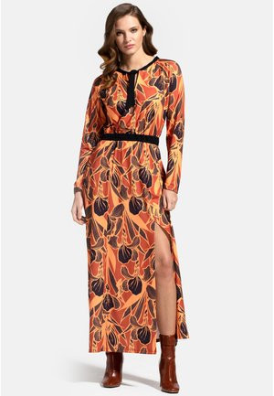WITH NECK TIE - Maxi dress - brown floral