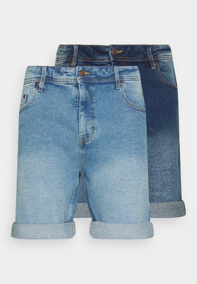 MR ORANGE 2 PACK - Shorts di jeans - light blue/dark blue