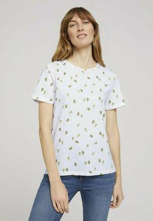Print T-shirt - offwhite green cactus design