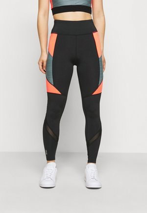 ONPALANI TRAINING TIGHTS - Leggings - Trousers - black/goblin blue/fiery coral
