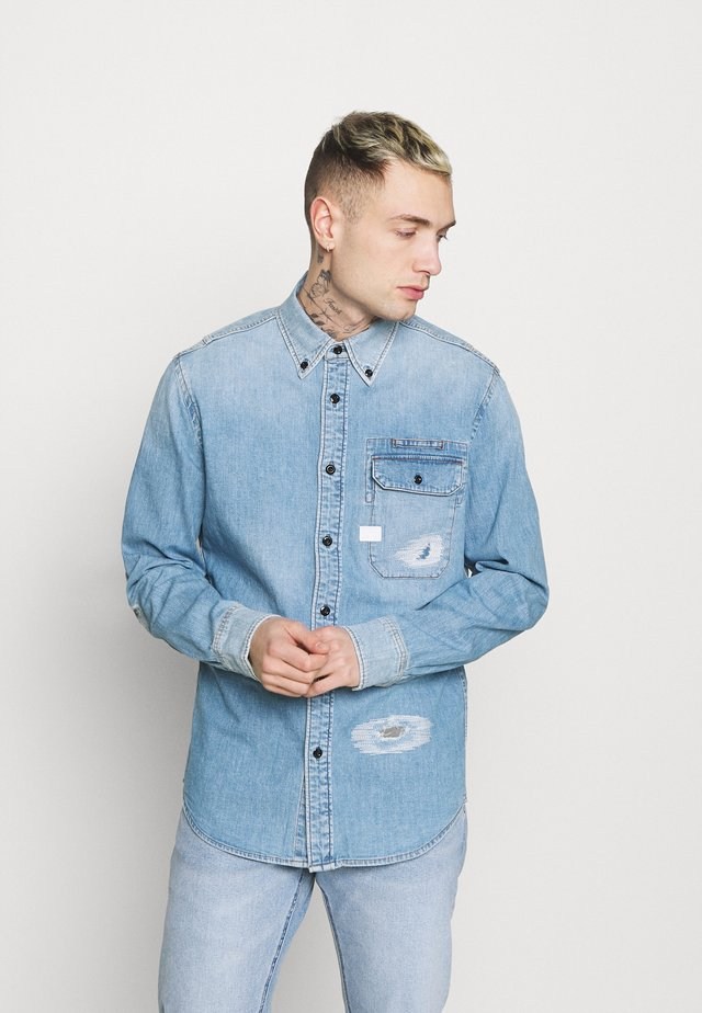 BRISTUM FLAP BUTTON DOWN long sleeve - Shirt - oregon blue restored