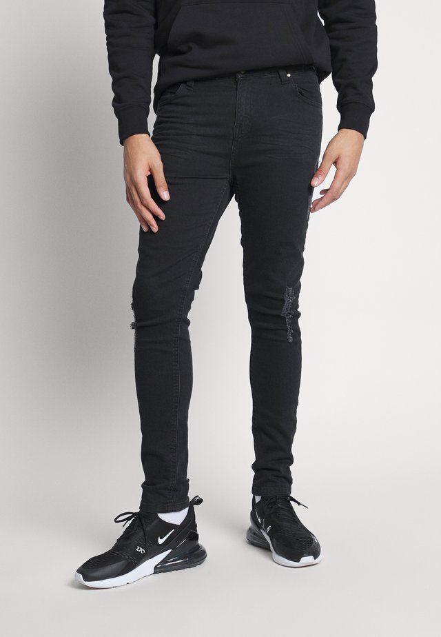 FADED DISTRESSED MID-RISE - Jeansy Skinny Fit - black