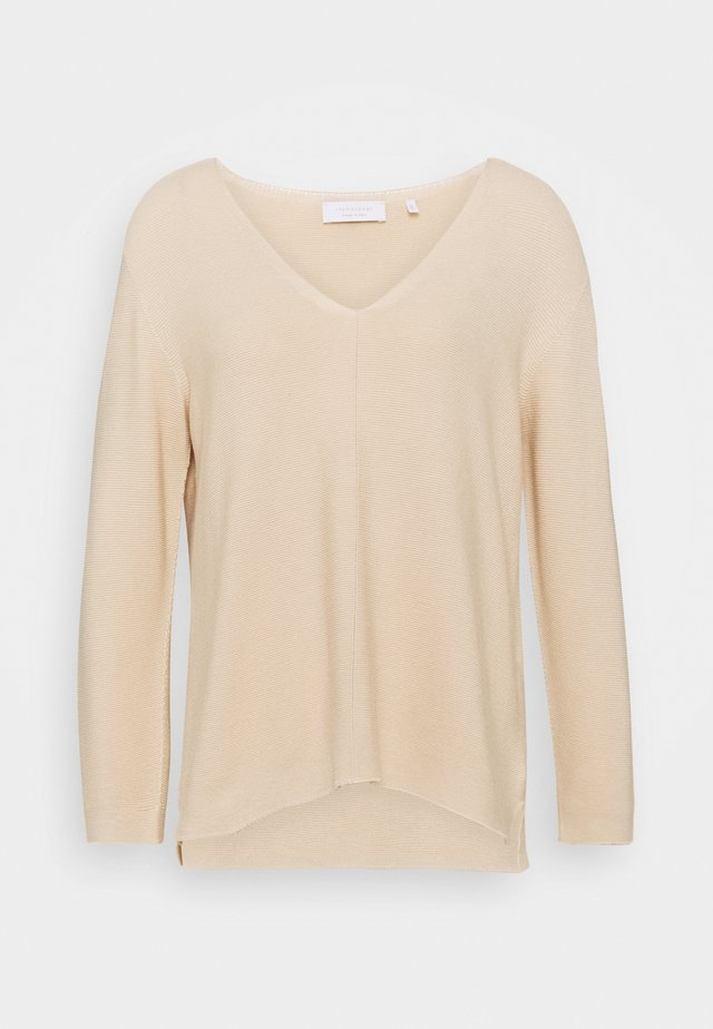 V NECK  - Pullover - white coffee