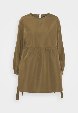 TIE CUFF SMOCK DRESS - Day dress - khaki