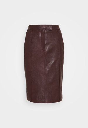 PANNEL BELTED SKIRT - Pencil skirt - deep maroon