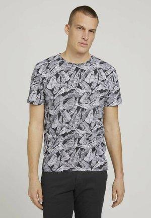 Print T-shirt - tarmac grey leaf design