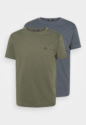 2 PACK - Basic T-shirt - military green/smoke grey