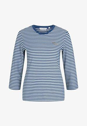 Long sleeved top - indigo blue creme stripe