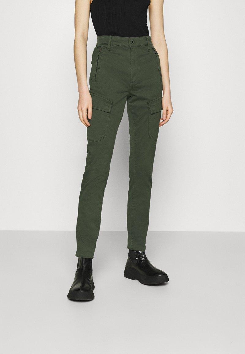 G-Star - HIGH G-SHAPE CARGO SKINNY PANT - Cargo trousers - dk algae