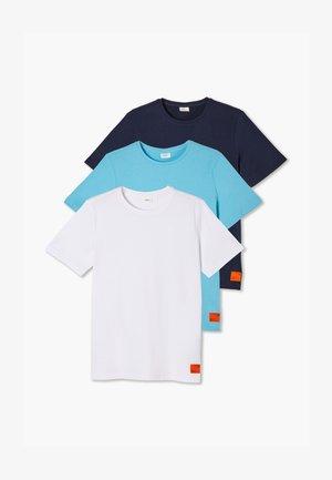 LOT DE 3 - T-shirt basic - white/turquoise/navy
