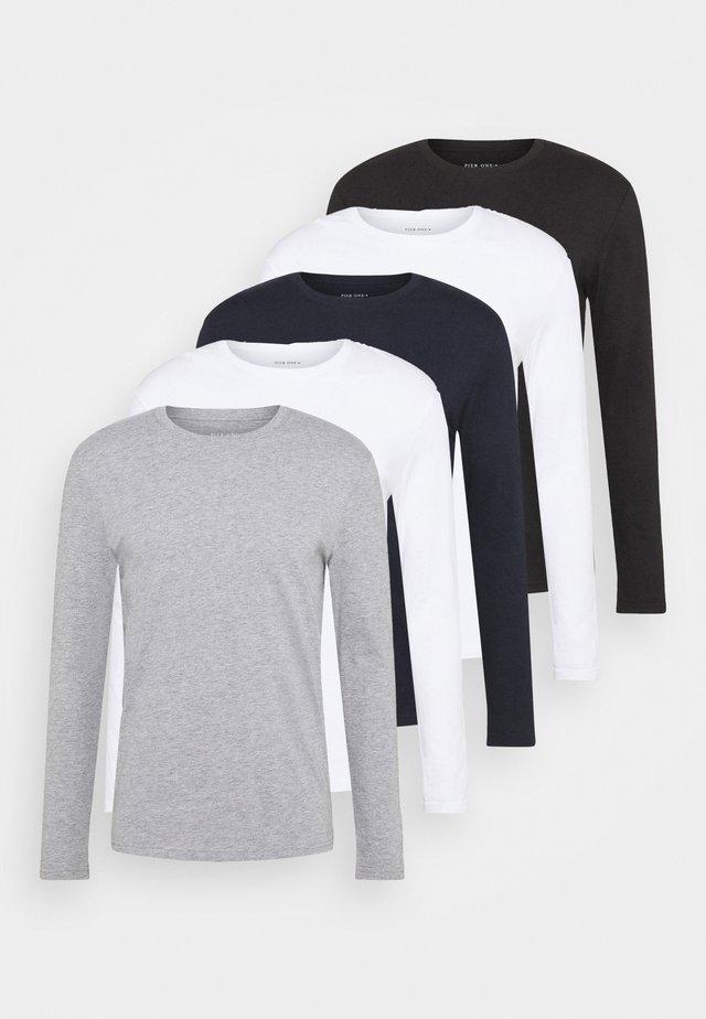 5 PACK - T-shirt à manches longues - white/dark blu/grey