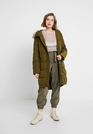 Down coat - dark olive