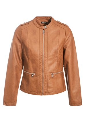 MIT REISSVERSCHLUSS - Faux leather jacket - beige