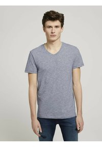 TOM TAILOR DENIM - Print T-shirt - navy white yd melange stripe - 0