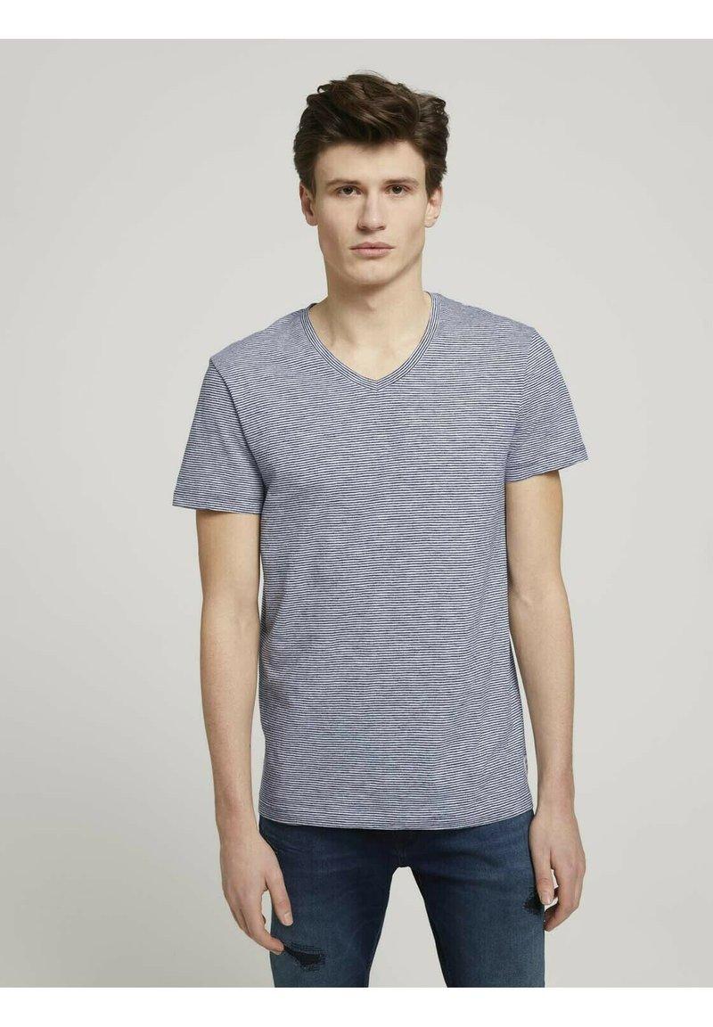 TOM TAILOR DENIM - Print T-shirt - navy white yd melange stripe