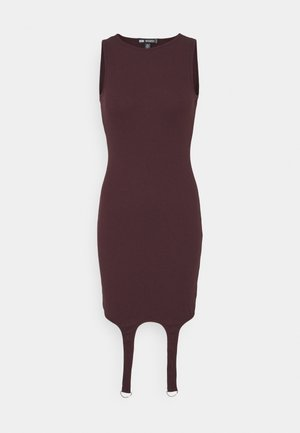 SUSPENDER DETAIL MINI DRESS - Day dress - plum