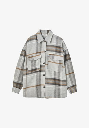 Button-down blouse - mottled grey