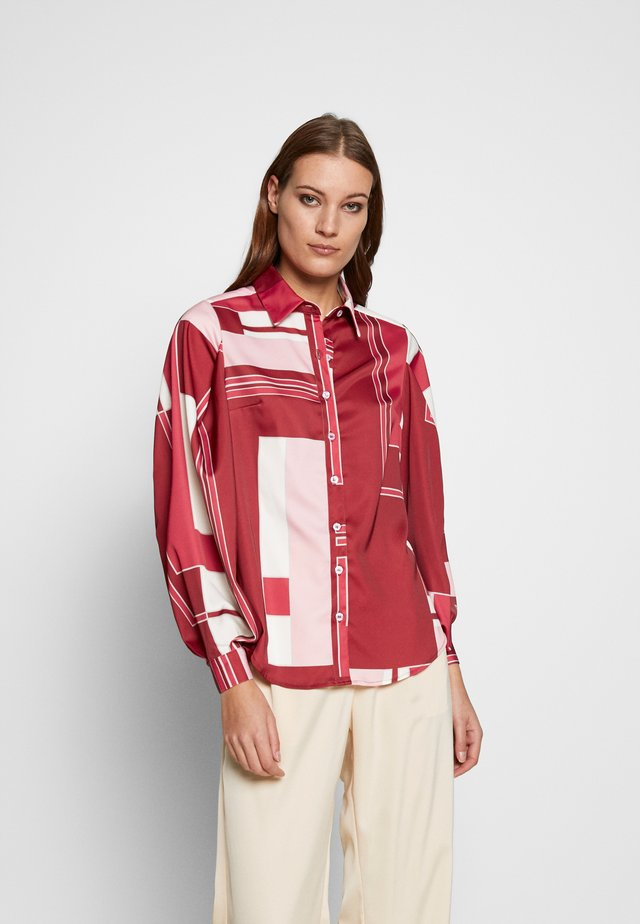 ROSA GEO VOLUME SLEEVE  - Button-down blouse - red