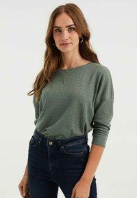 WE Fashion - MET OPENGEWERKT DESSIN - Jumper - sea green - 0