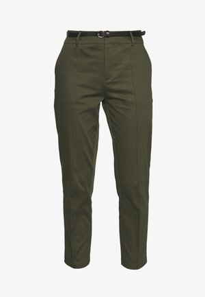 REGULAR FIT WITH STITCHED PLEAT - Chino kalhoty - military