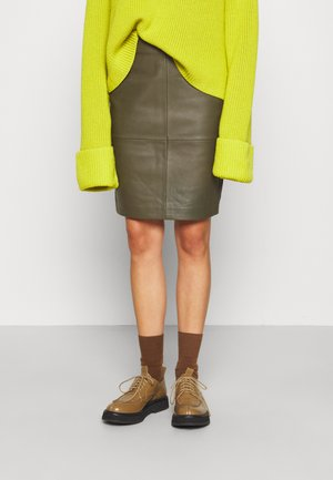 2ND CECILIA - Leather skirt - olive night