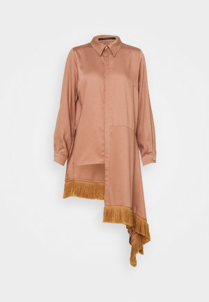 ASYMMETRIC WITH DRAPE - Button-down blouse - tan