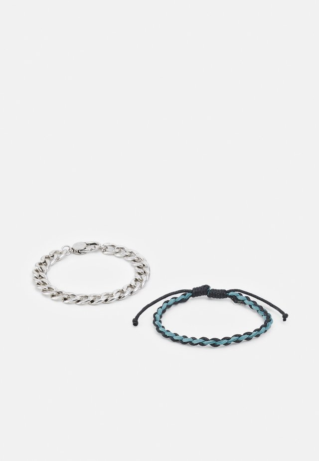 TOTUM MIXED WRISTWEAR WITH CHAIN ROW 2 PACK - Armband - silver-coloured