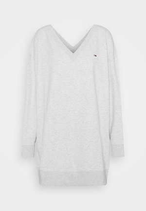 V NECK DRESS - Day dress - silver grey heather