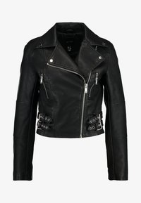 New Look - DONNA CROPPED JACKET - Faux leather jacket - black - 4