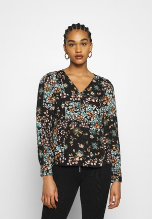 PCWELLY V NECK  - Blouse - black/multi