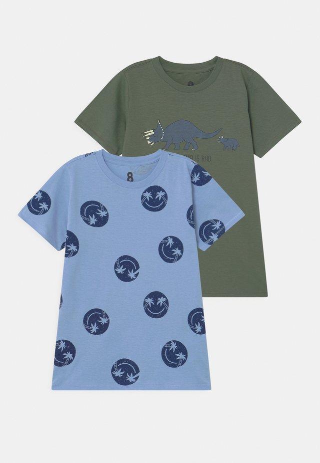 2 PACK - Triko spotiskem - dusk blue/swag green