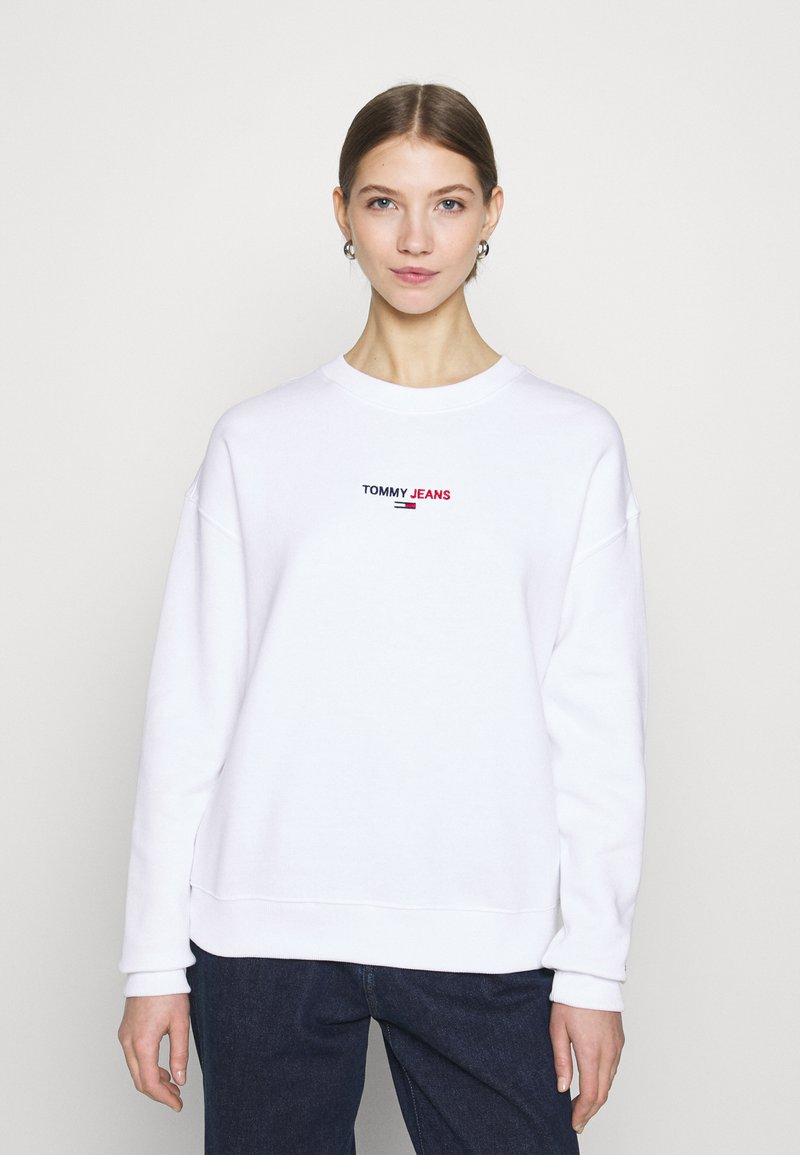 Tommy Jeans - LINEAR CREW NECK - Bluza - white