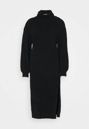 FLUFFY SLOUCHY SIDE SPLIT JUMPER DRESS - Strikkegenser - black