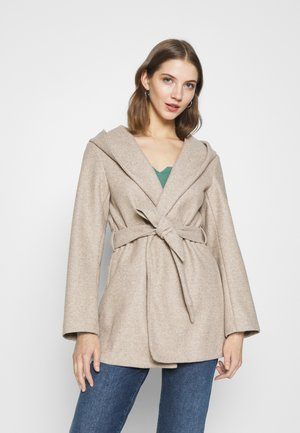ONLTRILLION BELT HOODIE COATIGAN - Short coat - sand