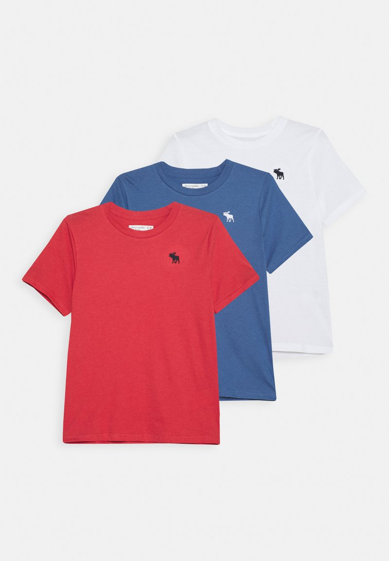 Abercrombie & Fitch - CREW 3 PACK  - Print T-shirt - blue/white/red