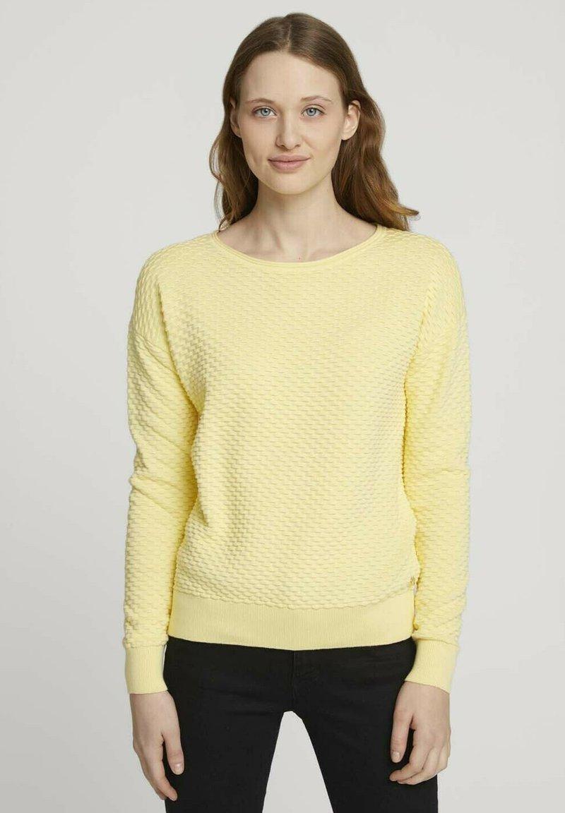 TOM TAILOR DENIM - MIT WAFFELSTRU - Neule - soft yellow