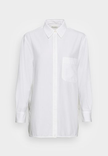 BLOUSE LONG SLEEVE KENT COLLAR BOYFRIEND FIT PATCHED POCKET - Pusero - white