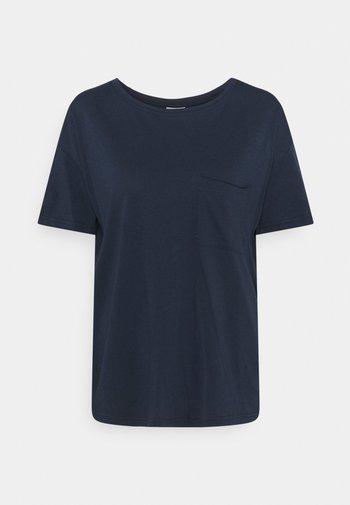 SHORT SLEEVE PATCHED POCKET LOOSE BODYSHAPE - Basic T-shirt - dress blue