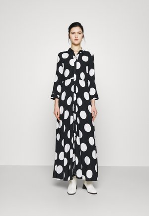 YASSAVANNA DOT LONG SHIRT DRESS - Maxi dress - black/white