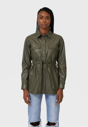 Faux leather jacket - khaki