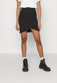 Even&Odd - Asymetric overlap wrap mini high waisted skirt - Pencil skirt - black - 0