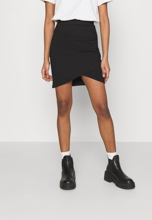 Asymetric overlap wrap mini high waisted skirt - Pencil skirt - black